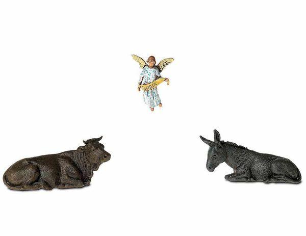 Picture of Ox, Donkey and Glory Angel cm 6,5 (2,6 inch) Landi Moranduzzo Nativity Scene in PVC, Arabic style
