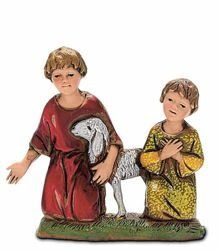 Picture of 2 Kids with Sheep Set cm 10 (3,9 inch) Landi Moranduzzo Nativity Scene in PVC, Neapolitan style
