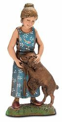 Picture of Girl wth Dog cm 10 (3,9 inch) Landi Moranduzzo Nativity Scene in PVC, Neapolitan style