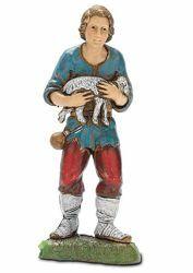 Immagine di Pastorello con Agnello cm 10 (3,9 inch) Presepe Landi Moranduzzo in PVC stile Napoletano