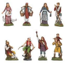 Picture of 8 Shepherds Set cm 10 (3,9 inch) Landi Moranduzzo Nativity Scene in PVC, Neapolitan style