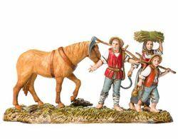 Picture of Farmers with Horse cm 10 (3,9 inch) Landi Moranduzzo Nativity Scene in PVC, Neapolitan style