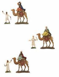 Immagine di Re Magi su Cammello con cammellieri cm 10 (3,9 inch) Presepe Landi Moranduzzo in PVC stile Napoletano