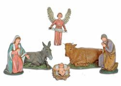 Picture of Holy Family Set 6 pcs cm 10 (3,9 inch) Landi Moranduzzo Nativity Scene in PVC, Neapolitan style
