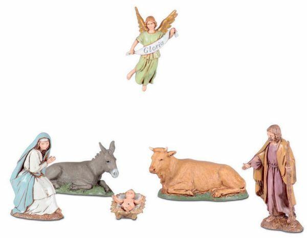 Immagine di Gruppo Natività Sacra Famiglia 6 pz cm 10 (3,9 inch) Presepe Landi Moranduzzo in PVC stile Napoletano