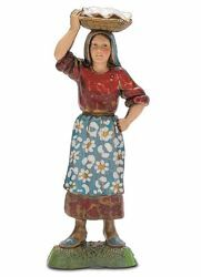 Picture of Woman with Basket cm 10 (3,9 inch) Landi Moranduzzo Nativity Scene in PVC, Neapolitan style