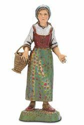 Immagine di Donna con Cesto in braccio cm 10 (3,9 inch) Presepe Landi Moranduzzo in PVC stile Napoletano