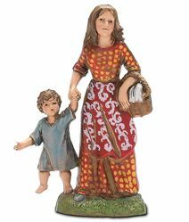 Picture of Woman with Boy and Basket cm 10 (3,9 inch) Landi Moranduzzo Nativity Scene in PVC, Neapolitan style