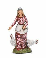 Picture of Woman with Chickens cm 10 (3,9 inch) Landi Moranduzzo Nativity Scene in PVC, Neapolitan style