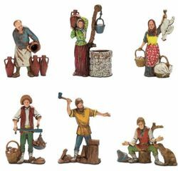 Picture of 6 Subjects Set cm 10 (3,9 inch) Landi Moranduzzo Nativity Scene in PVC, Neapolitan style