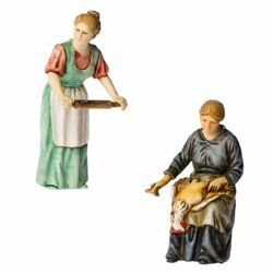 Picture of Woman plucking Chicken and Woman with Rolling Pin cm 10 (3,9 inch) Landi Moranduzzo Nativity Scene in PVC, Neapolitan style