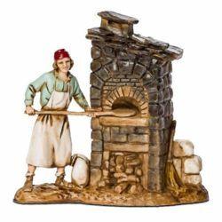 Picture of Pizza Man with Oven cm 8 (3,1 inch) Landi Moranduzzo Nativity Scene in PVC, Neapolitan style