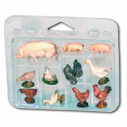Picture of 12 Barnyard Animals Set cm 10 (3,9 inch) Landi Moranduzzo Nativity Scene plastic (PVC) in Arabic or Neapolitan style