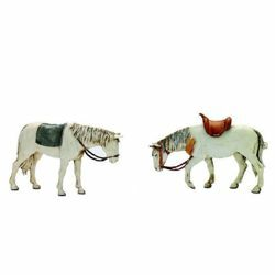 Picture of 2 Horses Set cm 10 (3,9 inch) Landi Moranduzzo Nativity Scene plastic (PVC) in Arabic or Neapolitan style