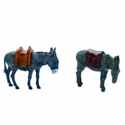 Picture of 2 Donkeys Set cm 10 (3,9 inch) Landi Moranduzzo Nativity Scene plastic (PVC) in Arabic or Neapolitan style