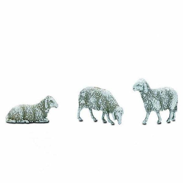 Immagine di Gruppo 3 Pecore cm 10 (3,9 inch) Presepe Landi Moranduzzo in plastica (PVC) in stile Napoletano o Arabo
