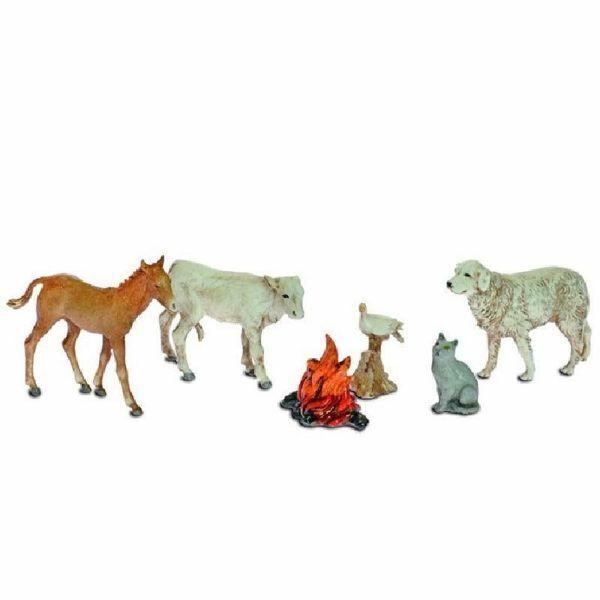 Picture of 5 Animals and Fire Set cm 10 (3,9 inch) Landi Moranduzzo Nativity Scene plastic (PVC) in Arabic or Neapolitan style