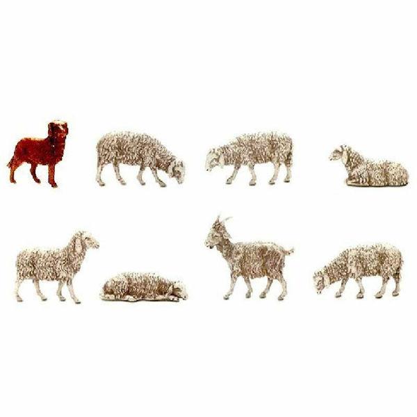 Imagen de Cabra, Perro y 6 Ovejas cm 10 (3,9 inch) Belén Landi Moranduzzo en plástico (PVC) de estilo árabe o Napolitano
