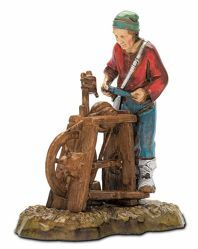 Picture of Knife Sharpener cm 10 (3,9 inch) Landi Moranduzzo Nativity Scene in PVC, Neapolitan style