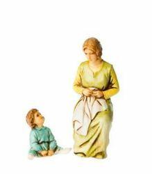 Picture of Sewing Woman and Child cm 10 (3,9 inch) Landi Moranduzzo Nativity Scene in PVC, Neapolitan style