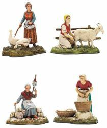 Picture of 4 Women Crafts Set cm 10 (3,9 inch) Landi Moranduzzo Nativity Scene in PVC, Neapolitan style