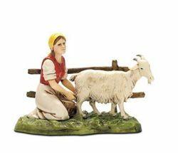 Immagine di Donna con Capra cm 10 (3,9 inch) Presepe Landi Moranduzzo in PVC stile Napoletano