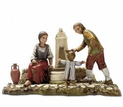 Picture of Fountain Set cm 10 (3,9 inch) Landi Moranduzzo Nativity Scene in PVC, Neapolitan style