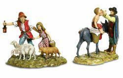 Picture of 2 Subjects and Animals Set cm 10 (3,9 inch) Landi Moranduzzo Nativity Scene in PVC, Neapolitan style
