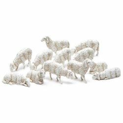Picture of 12 Sheep Set cm 10 (3,9 inch) Landi Moranduzzo Nativity Scene plastic (PVC) in Arabic or Neapolitan style