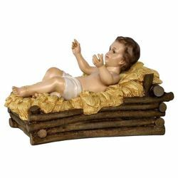 Picture of Decorated Cradle cm 100 (39 inch) Landi Moranduzzo Nativity Scene in fiberglass, Arabic style