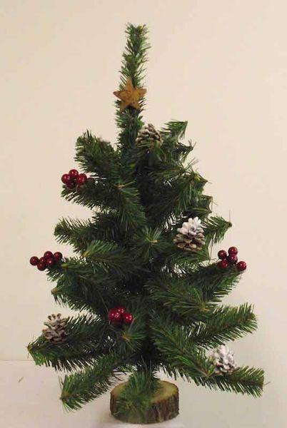 Imagen de Árbol de Navidad Artificial Pequeño H. cm 60 (23,6 inch) verde con adornos, bayas rojas y piñas en plástico PVC