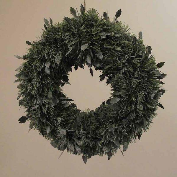Imagen de Corona de Navidad Acebo diám. cm 35 (13,8 inch) verde nevada en plástico PVC