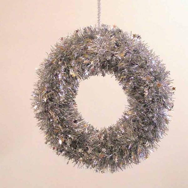 Imagen de Corona de Navidad diám. cm 35 (13,8 inch) plata en plástico PVC