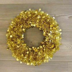 Picture of Christmas Wreath diam. cm 35 (13,8 inch) gold plastic PVC