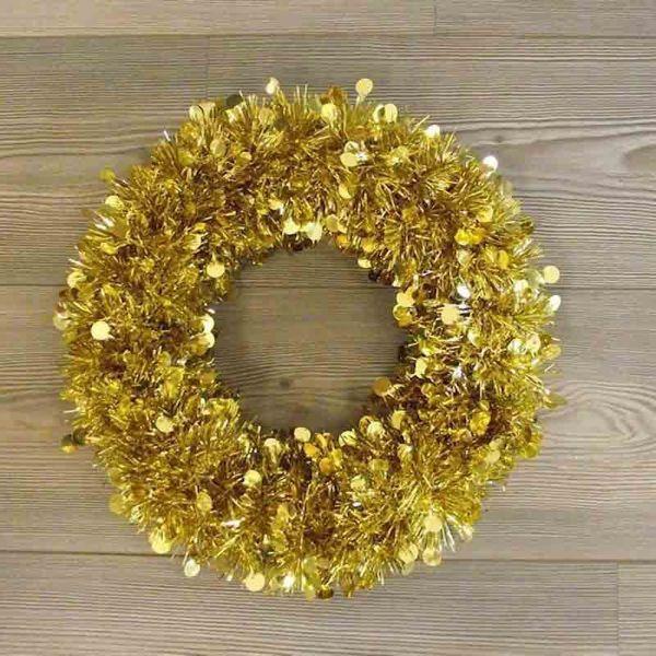 Imagen de Corona de Navidad diám. cm 35 (13,8 inch) oro en plástico PVC