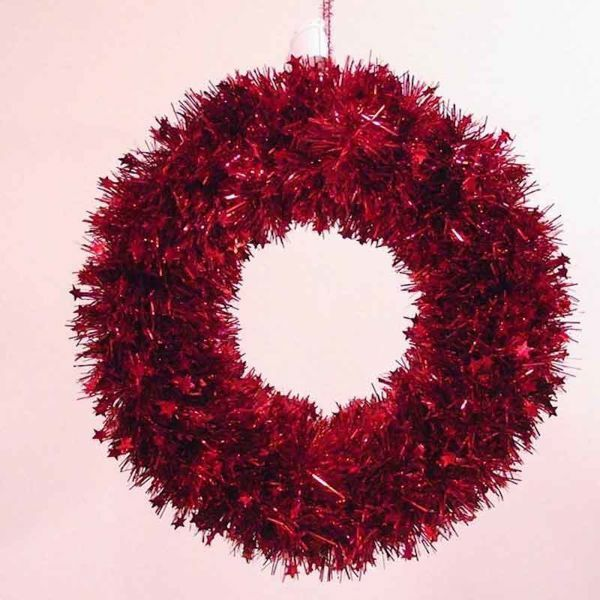 Picture of Christmas Wreath diam. cm 35 (13,8 inch) red plastic PVC