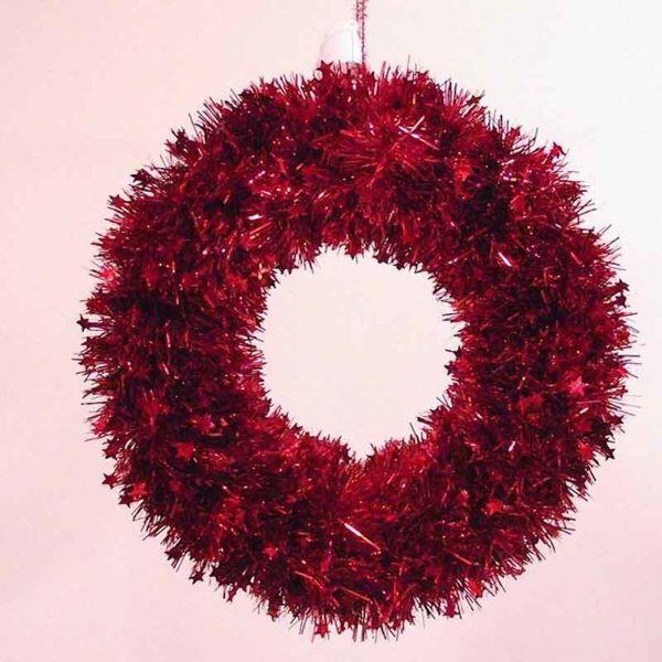 Immagine di Corona di Natale diam. cm 35 rossa in plastica PVC