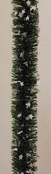 Immagine di Ghirlanda natalizia L. 10 m (395 inch), diam. cm 8 (3,1 inch) verde con stelle bianche in plastica PVC