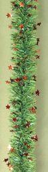 Immagine di Ghirlanda natalizia L. 10 m (395 inch), Diam. cm 8 (3,1 inch) verde con stelle rosse in plastica PVC