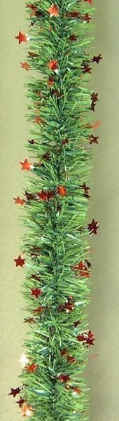 Picture of Christmas Garland L. 10 m (395 inch), diam. cm 8 (3,1 inch) green with red stars plastic PVC