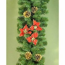 Picture of Christmas Garland L. 2,75 m (108 inch), diam. cm 28 (11 inch) green plastic PVC with red christmas stars and natural pine cones