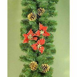 Immagine di Ghirlanda natalizia L. 2,75 m, diam. cm 28 in plastica PVC verde con stelle di Natale rosse e pigne naturali