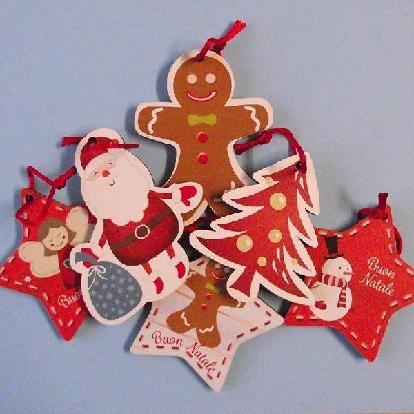 Imagen de Set de 6 Adornos navideños cm 8 (3,1 inch) coloridos en madera