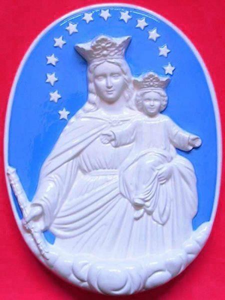 Immagine di Madonna Ausiliatrice Tondo da Muro diam. cm 42 (16,5 in) Bassorilievo Ceramica Robbiana