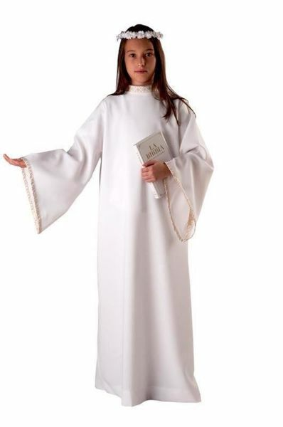 Picture of First Communion Alb for Girl golden trim Polyester Liturgical Tunic