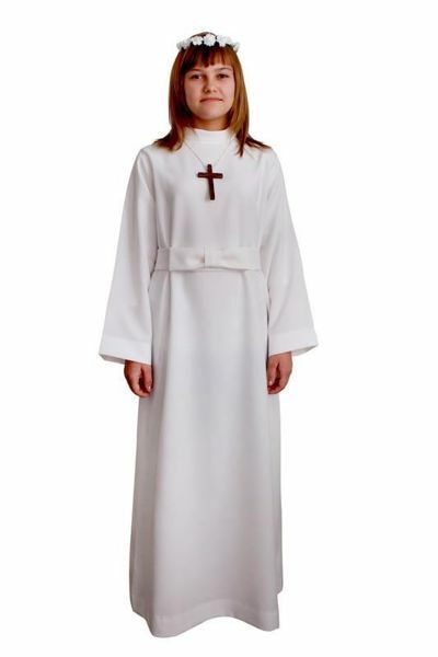 Picture of First Communion Alb for Girl with cincture pure Polyester Liturgical Tunic