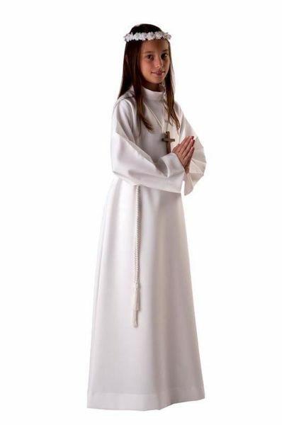 Imagen de Túnica Primera Comunión niños niñas cuello vuelto Alba Vestido Poliéster