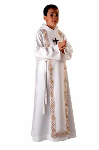 Picture of First Communion Alb boys girls with hood golden Trim Scapular Polyester Tunic