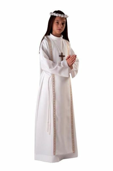 Picture of First Communion Alb boys girls turned Collar golden Trim Scapular Polyester Tunic
