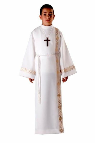 Picture of First Communion Alb boys girls with folds golden Trim Polyester Liturgical Tunic
